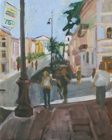 Oil in canvas of lithuanian street in vlinius original artwork bu lithuanian artist lauren karrenberg