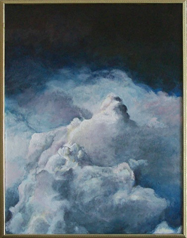 Clouds cumulonimbus acrylic on masonite painting lauren karrenberg