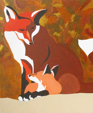 fox with cub fall colors acrylic on wood painting lauren karrenberg