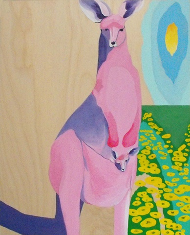 Pink kangaroo with joey acrylic painting on wood by lauren karrenberg
