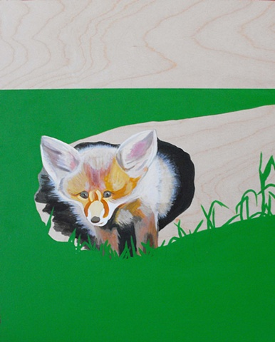 baby fox in a log acrylic on wood painting by lauren karrenberg
