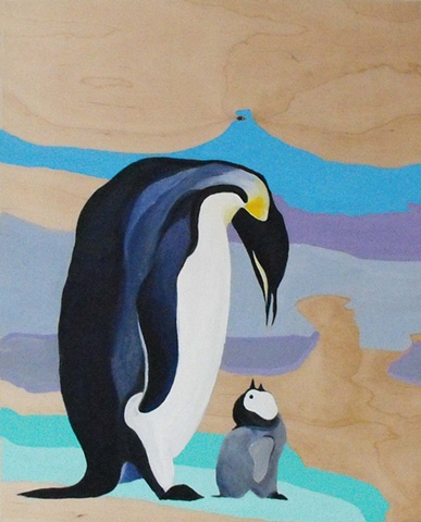 penguin with baby ice blue acrylic on wood commissioned painting by lauren karrenberg