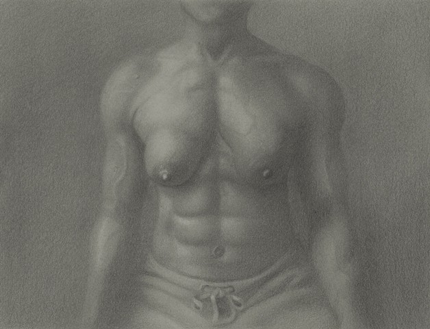 This is a miniature graphite portrait of Roxanne, a professional female bodybuilder.