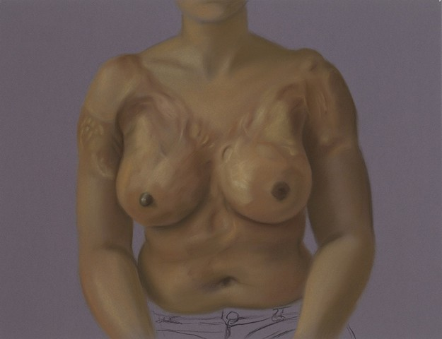 This is a life-sized pastel portrait of Sherrie, a young woman who was burned in a kitchen accident at the age of six.