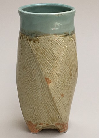 Ash and Celadon Glaze Twisted Vase