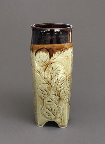 Square Eucalyptus Vase with ash and tenmoku
