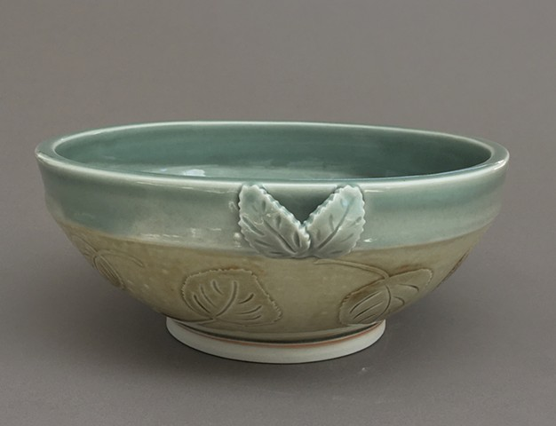 Celadon and Ash lead bowl with leaf handles