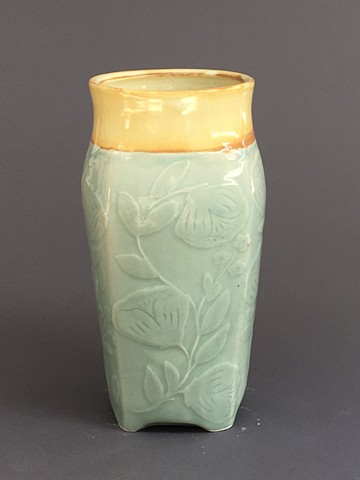 Square Vase with Flowers celadon and Yellow