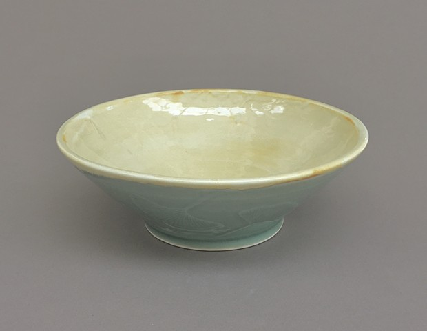 Celadon ginkgo leaf bowl with yellow interior