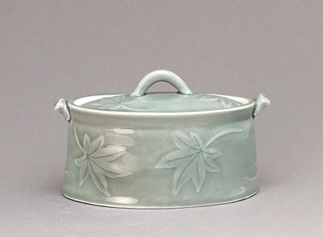 Celadon Lidded Oval with leafs
