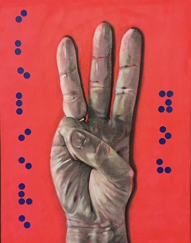 #metoo,feminism, braille, glitter