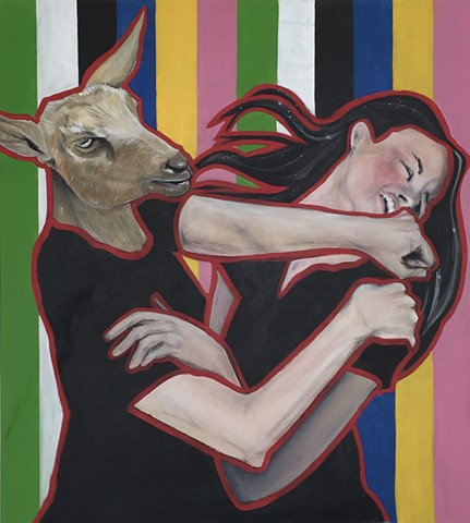 goat take out, goat, old goat, ladie fights, studioama art allison morgan