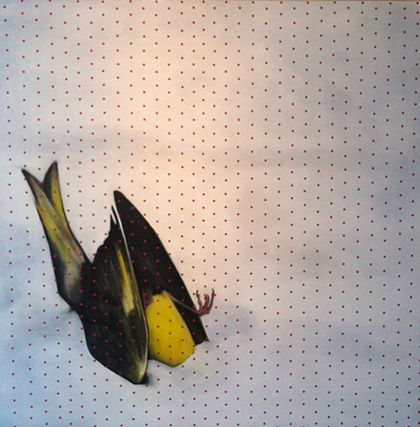 canary, finch, bird in snow, dead bird, headless bird. bird painting, dots