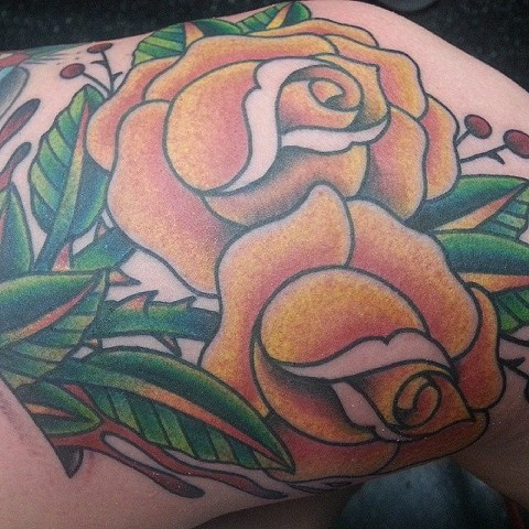 Yellow Rose Tattoo by Mike Hutton