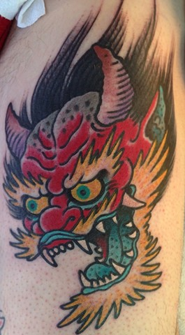 Oni Head Tattoo by Greg Christian