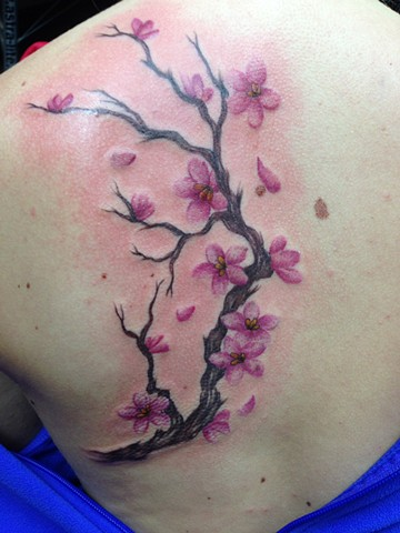 Cherry Blossom Branch Tattoo by Cindy Burmeister