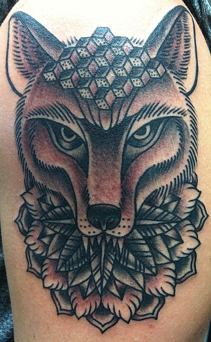 Geometric Fox Head Tattoo by Mike Hutton