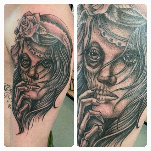 Skull Faced Girl Tattoo by Mike Hutton