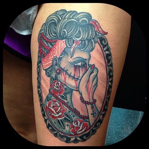 Girl with Picture Frame Tattoo by Dan Wulff