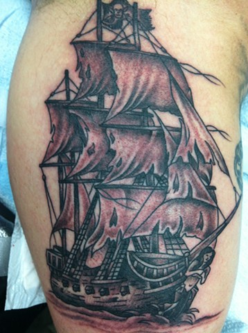 Pirate Ship Tattoo by Mike Hutton