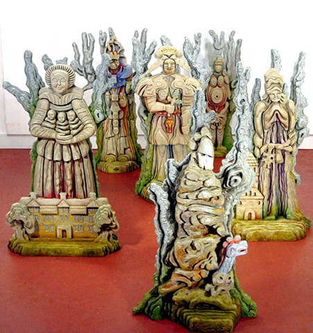 "The Old Ones (front view)  statues are 36"" to 39"" tall (without pedestal)"