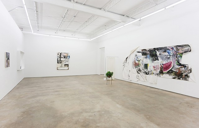 Exhibition, contemporary art, expanded painting, painting cut abstraction installation