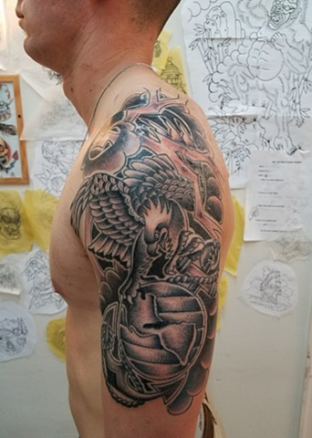 Custom Traditional Black and Grey EGA Eagle Globe Anchor USMC Marine Corps Tattoo By Ian Manley Washington, DC