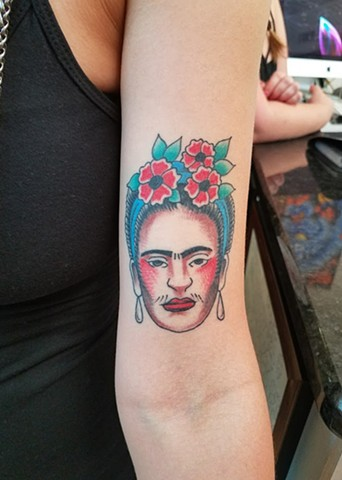 Custom Traditional Color Frida Kahlo Tattoo By Ian Manley Washington DC