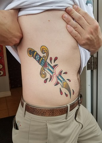 Custom Traditional Color Dagger Skin Rip Tattoo By Ian Manley Washington DC