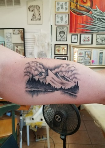 Custom Black and Grey Bob Ross Landscape Mountain Tattoo By Ian Manley Washington DC