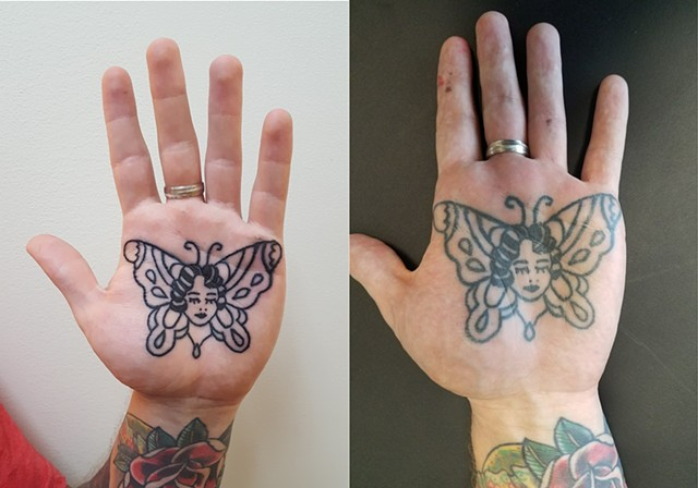 American Traditional Owen Jenson Lady Head Butterfly Palm Tattoo By Ian Manley Washington, DC