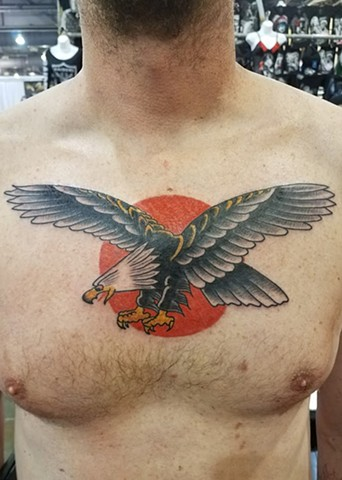 American Traditional Sailor Jerry Eagle Chest Piece Tattoo By Ian Manley Washington, DC