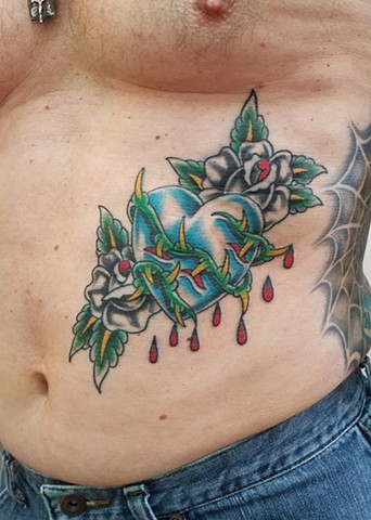 Custom Traditional Color Tattoo Bleeding Blue Heart with Roses and Thorns By Ian Manley Washington, DC
