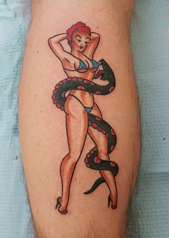 American Traditional Color Sailor Jerry Pinup Snake Charmer Tattoo By Ian Manley Washington, DC