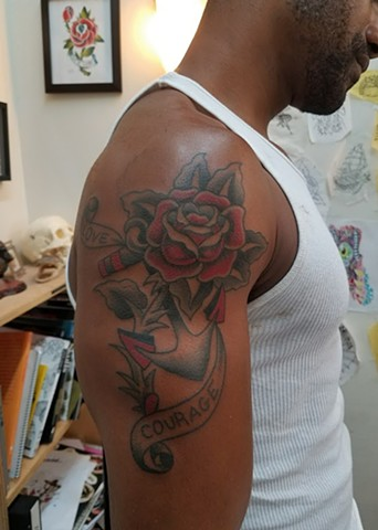 Custom Traditional Color Tattoo Rose with Banner Courage Anchor Black Tattooing By Ian Manley Washington DC