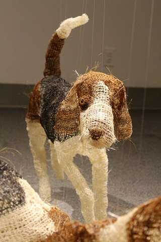 Mixed media crocheted horse and dogs foxhunting by Shara Rowley Plough.