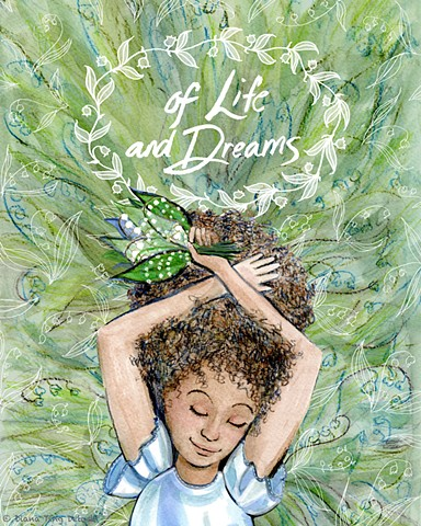 "A girl day dreams in a field of lily of the valley with a hand lettered title, ""Of Life and Dreams""."