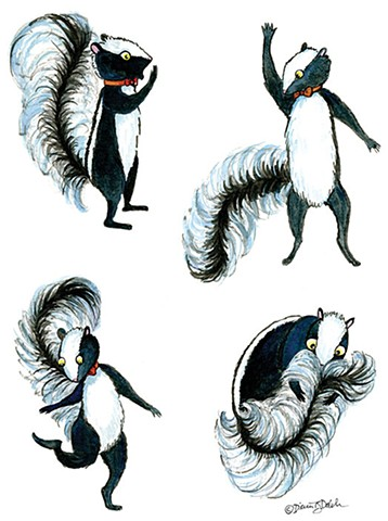 4 different poses of a skunk wearing a red bow tie and smelling himself.