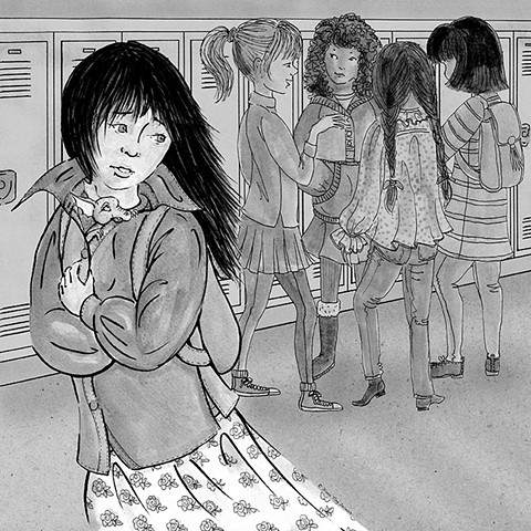 Asian girl, walking past a group of girls in her new school hall way.
