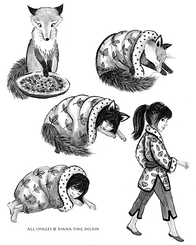 Fox Child black and white gray scale spot illustrations
