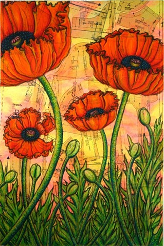 Patterned Poppies (right panel of triptych)