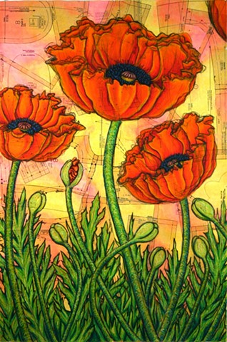 Patterned Poppies (left panel of triptych)