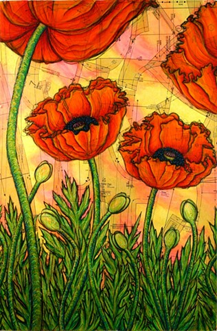 Patterned Poppies (middle panel of triptych)