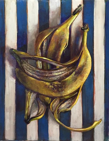"""blue striped banana"" 11'x14"" oil on panel"