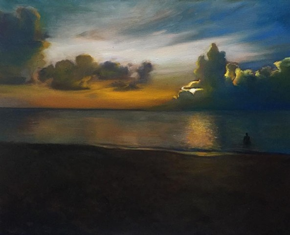 """""""west side sunset"""" oil on canvas 16""""x20"""""""
