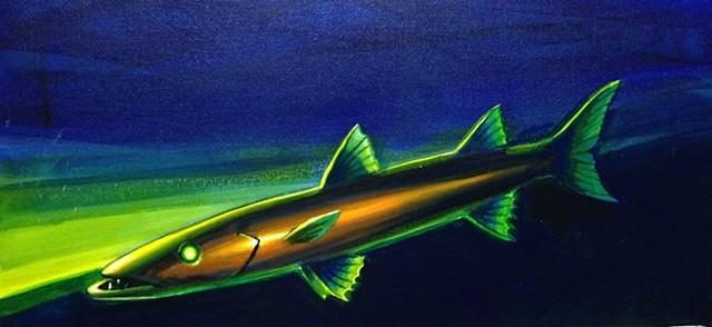 """barracuda, acrylic on canvas, 12""""x24"""""""