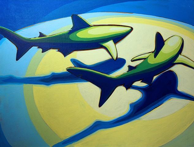 """shark pair 2 30""""x40"""" acrylic on canvas"""