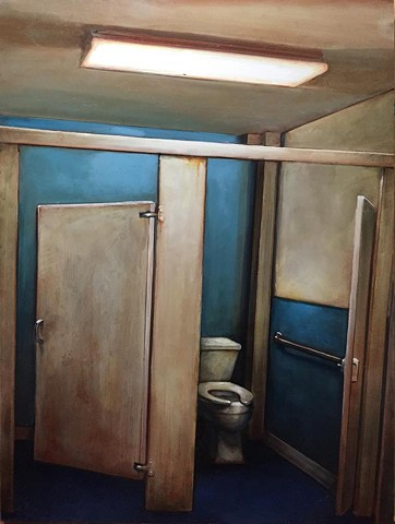 """blue white and toilet, oil on panel, 18""""x24"""""""