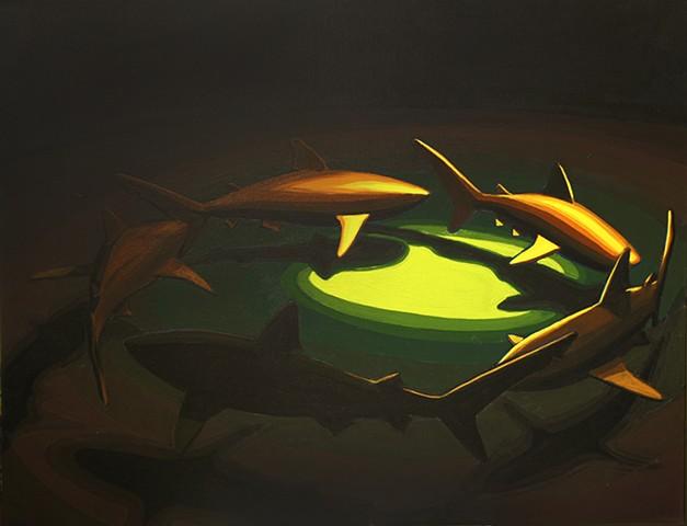 """shark circle 7  30""""x40"""" acrylic on canvas"""