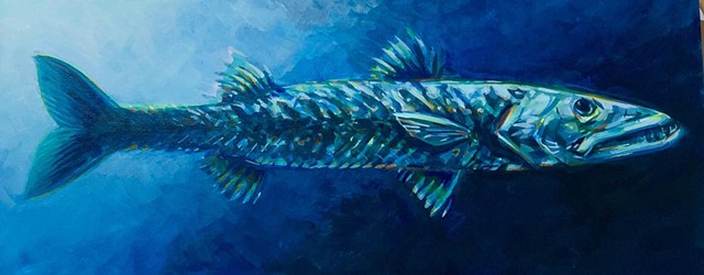 """blue barracuda"" acrylic on canvas 12""x30"""